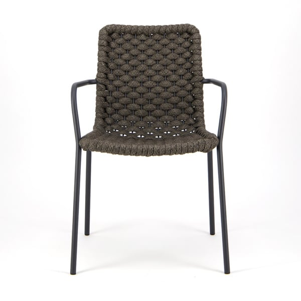 Terri Outdoor Dining Arm Chair Charcoal Rubber Rope - Front View