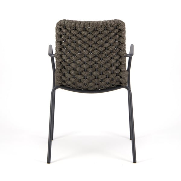 Terri Outdoor Dining Arm Chair Charcoal Rubber Rope - Rear View