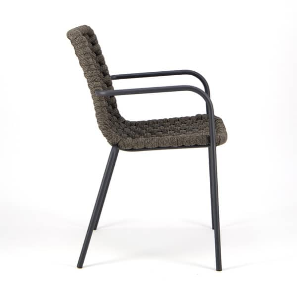 Terri Outdoor Dining Arm Chair Charcoal Rubber Rope - Side View