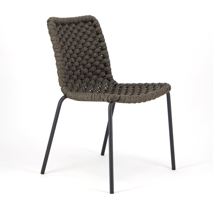 Terri Outdoor Dining Side Chair Charcoal Rubber Rope - Angle View
