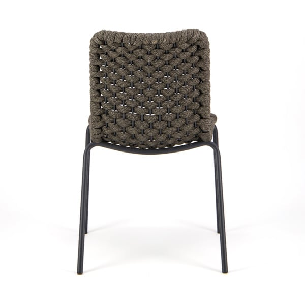 Terri Outdoor Dining Side Chair Charcoal Rubber Rope - Rear View