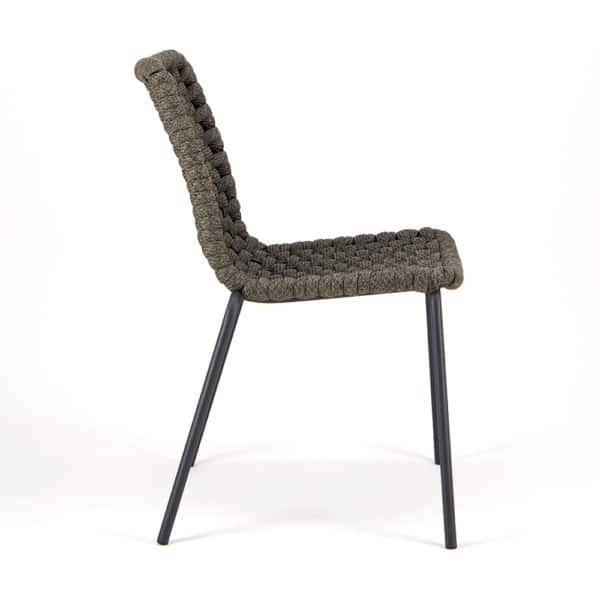 Terri Outdoor Dining Side Chair Charcoal Rubber Rope - Side View