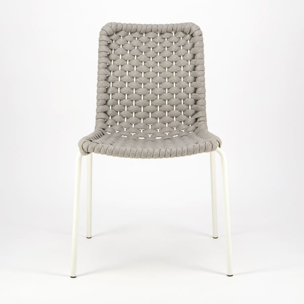 Terri Outdoor Dining Side Chair Grey Rubber Rope - Front View
