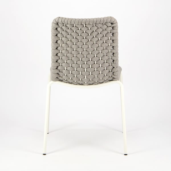 Terri Outdoor Dining Side Chair Grey Rubber Rope - Rear View