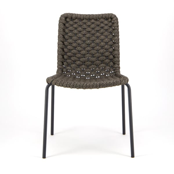 Terri Outdoor Dining Side Chair Charcoal Rubber Rope- Front View