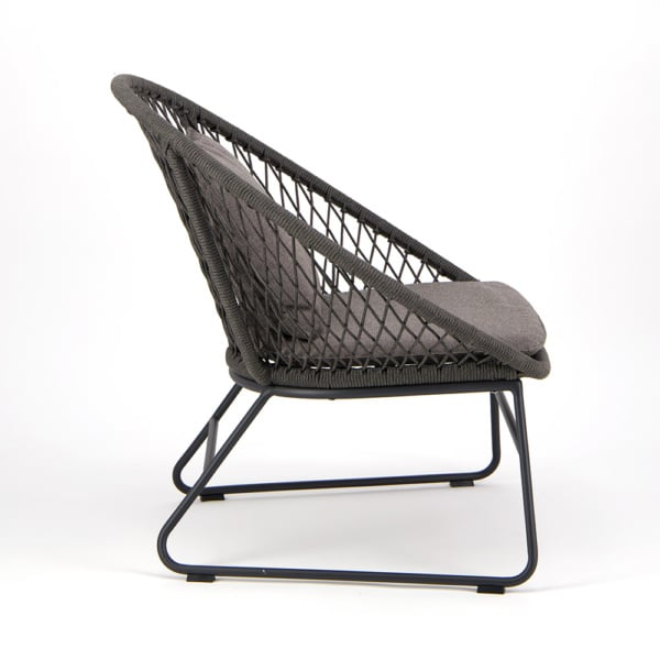 Zaha Outdoor Lounge Chair Cross Weave - Side View