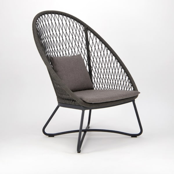 Zaha Outdoor Lounge Chair (High Back Cross Weave) - Angle View