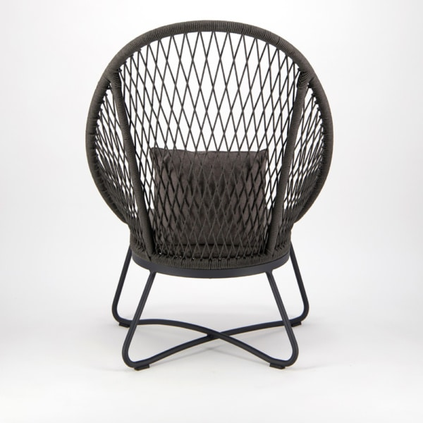 Zaha Outdoor Lounge Chair (High Back Cross Weave) - Back View