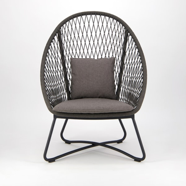 Zaha Outdoor Lounge Chair (High Back Cross Weave) - Front View