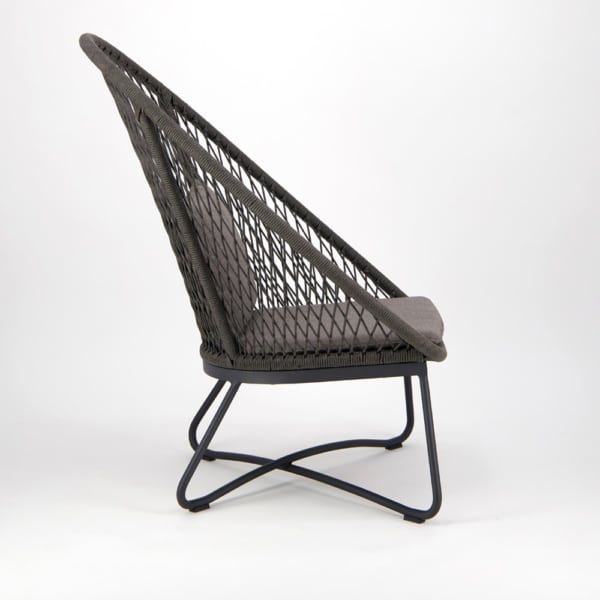 Zaha Outdoor Lounge Chair (High Back Cross Weave) - Side View