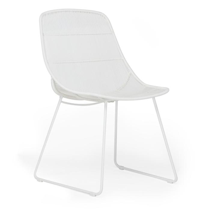 Oliver Outdoor Wicker Dining Side Chair in White