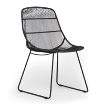 Oliver Outdoor Wicker Dining Side Chair in Black - Angle View