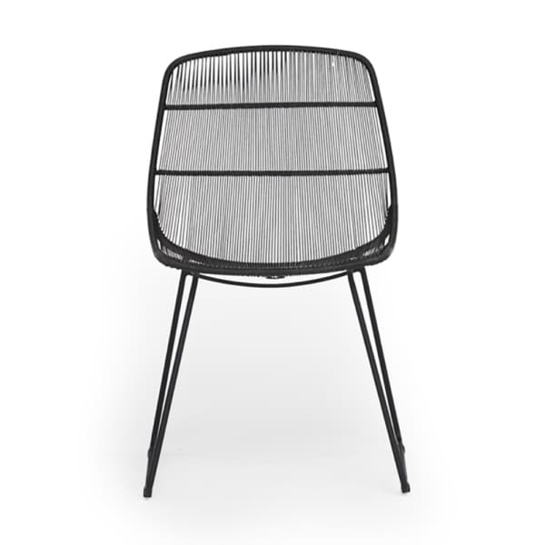Oliver Outdoor Wicker Dining Side Chair in Black - Front View