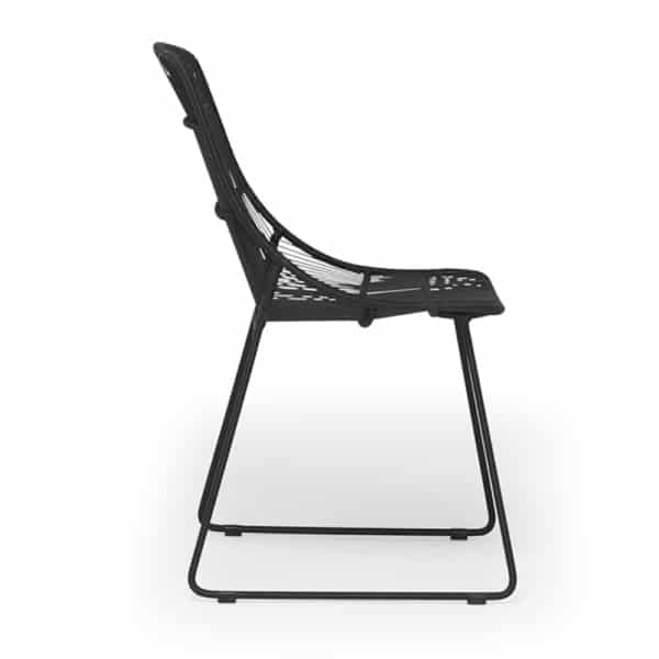 Oliver Outdoor Wicker Dining Side Chair in Black - Side View