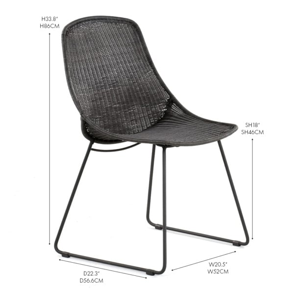 Joe wicker dining side chair black