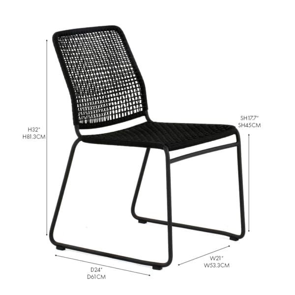 Kline rope and aluminum side dining chair