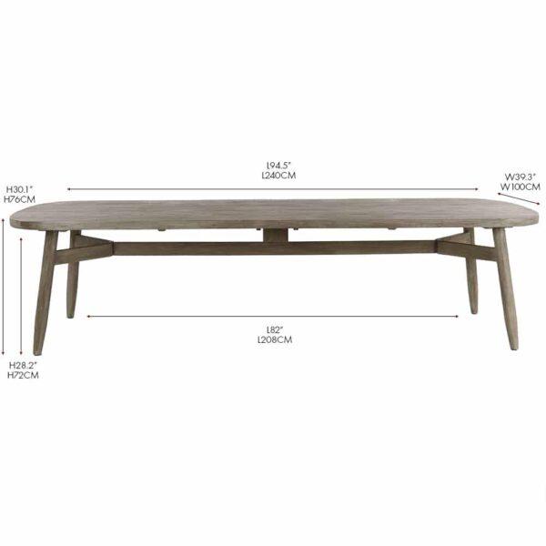 Sutherland reclaimed teak rectangular outdoor dining table