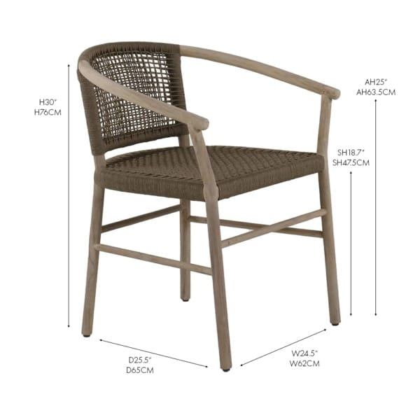 Macintosh reclaimed teak and rope dining arm chair
