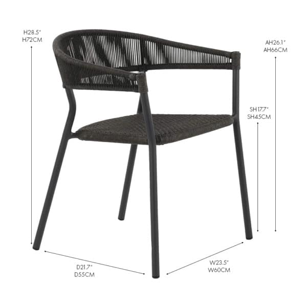 Spider rope and aluminum stacking dining chair