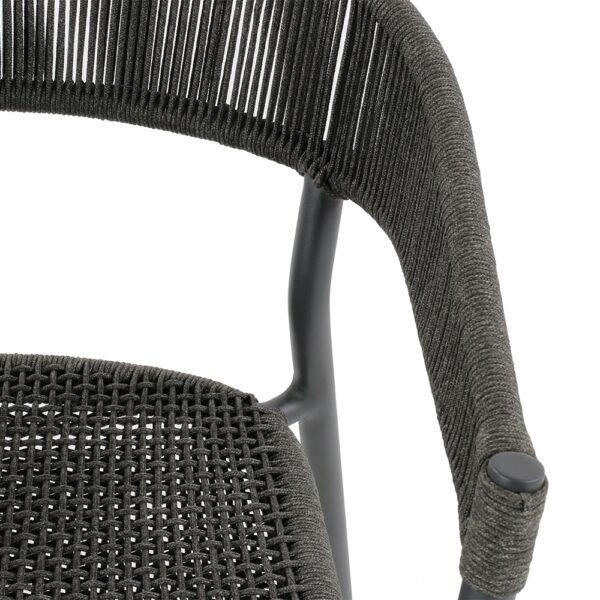 Spider black wicker patio furniture close up