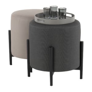 suzi outdoor contemporary stools in coal and taupe with tray