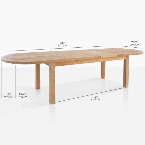 Capri oval double extension dining table grade-a teak