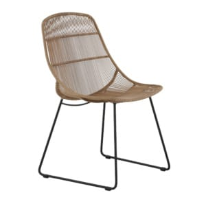 Oliver Outdoor Wicker Dining Side Chair (Natural) Angle