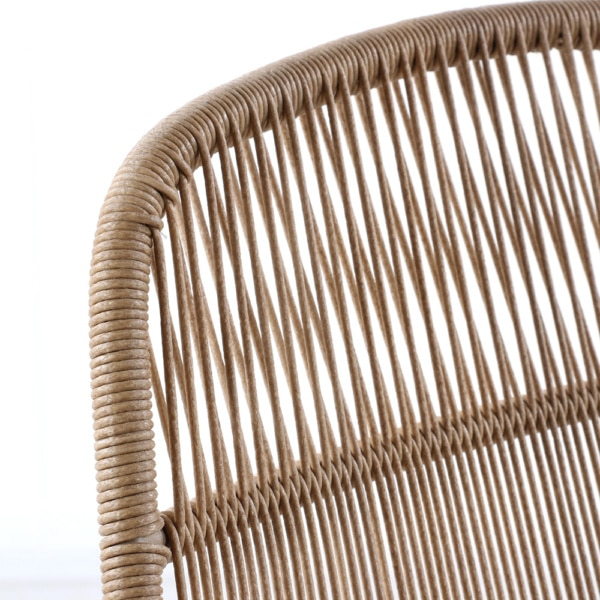 Oliver Outdoor Wicker Dining Side Chair (Natural) Closeup