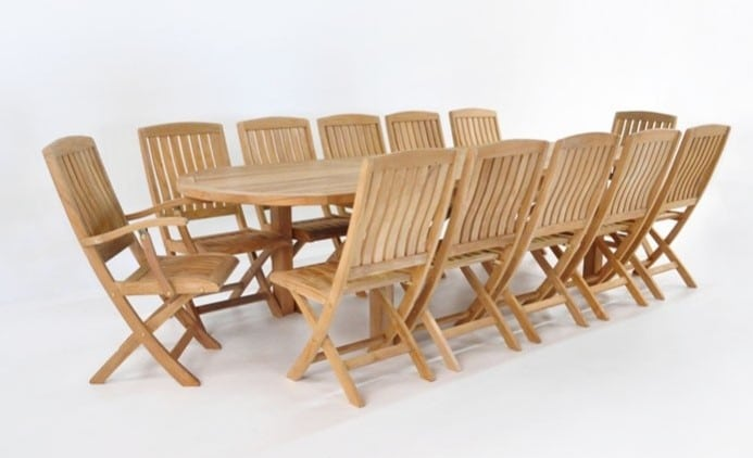 Capri Extension outdoor dining tables and teak folding Chairs Set